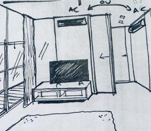 desenho com sala com ar condicionado
